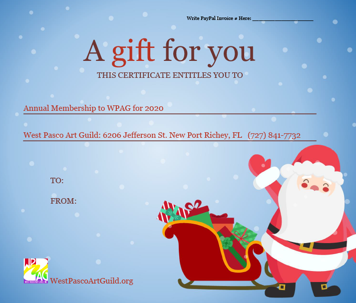 Purchase the gift of art. A 2020 WPAG Annual Membership gift certificate